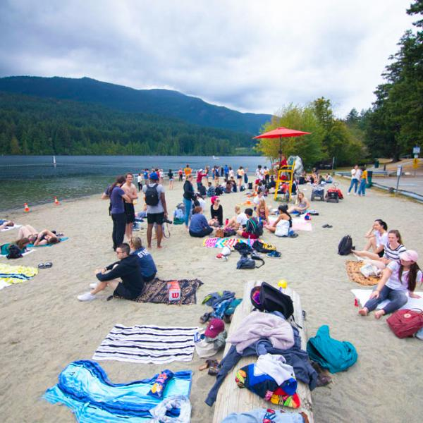Beach day during viu residence student orientation