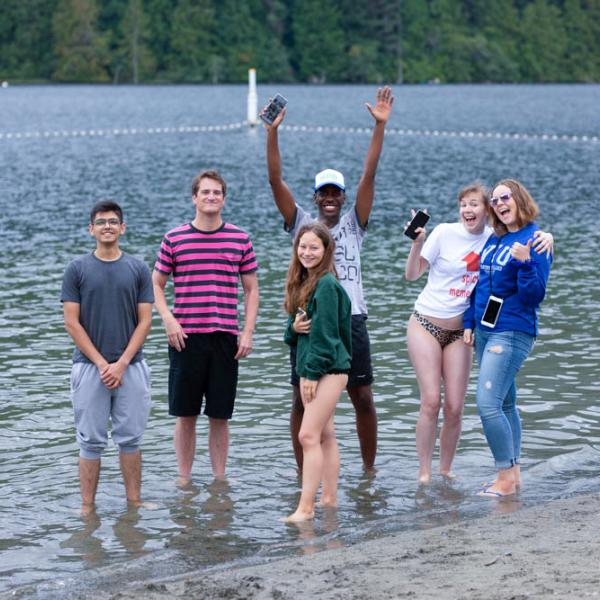 Viu Students at beach during residence orientation