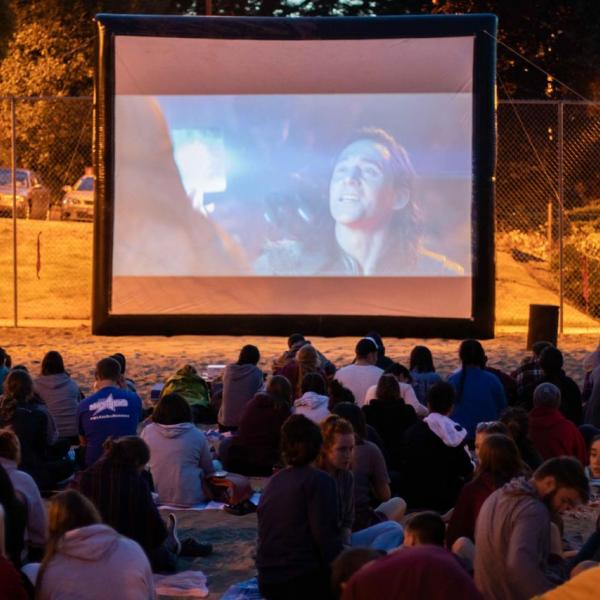 Movie night during viu residence student orientation