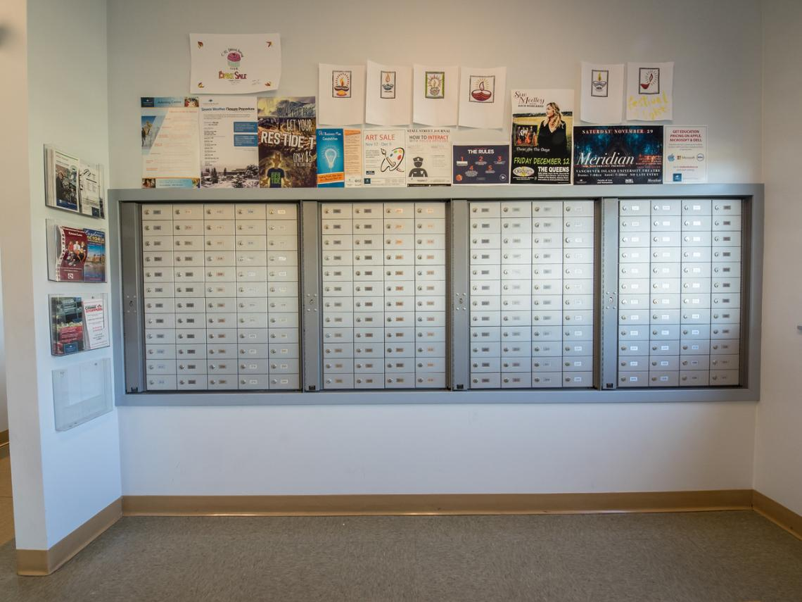 Mailroom at VIU Residence in cedar centre