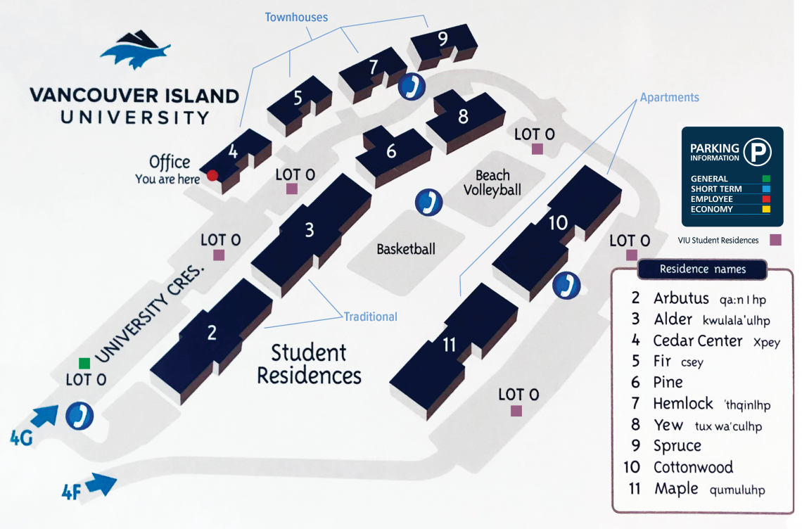 VIU Residence Parking and Building Map